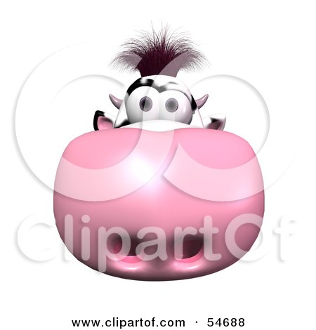 Royalty-Free (RF) Clipart Illustration of a 3d Dairy Cow Character With Its Pink Nose Facing The Viewer - Version 1 by Julos