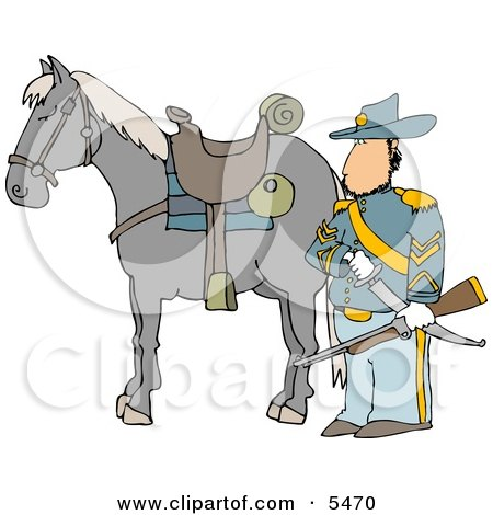 Armed Union Soldier Standing Beside His Horse Clipart Illustration by djart