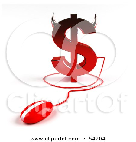 Royalty-Free (RF) Clipart Illustration of a 3d Devil Dollar Symbol With Horns And A Computer Mouse - Version 2 by Julos