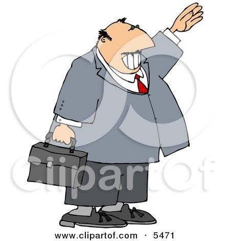 Smiling Businessman Waving Hello or Goodbye Clipart Illustration by djart
