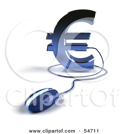 Royalty-Free (RF) Clipart Illustration of a 3d Blue Euro Symbol With A Computer Mouse - Version 4 by Julos