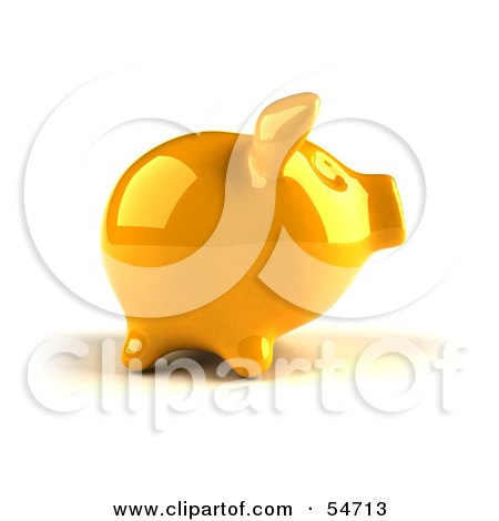 Royalty-Free (RF) Clipart Illustration of a 3d Yellow Shiny Piggy Bank - Version 1 by Julos