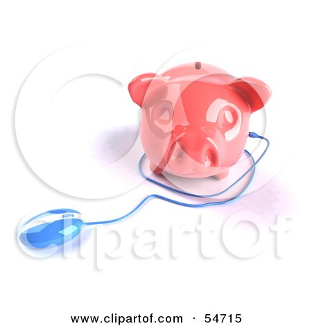 Royalty-Free (RF) Clipart Illustration of a 3d Blue Computer Mouse Around A Pink Piggy Bank - Pose 2 by Julos