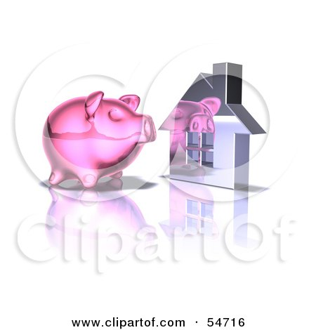 Royalty-Free (RF) Clipart Illustration of a 3d Pink Piggy Bank By A Silver House - Pose 5 by Julos
