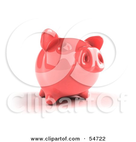 Royalty-Free (RF) Clipart Illustration of a 3d Pink Shiny Piggy Bank - Version 2 by Julos