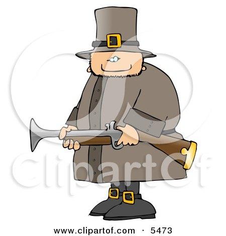 Armed Pilgrim Man Hunting Birds Clipart Illustration by djart