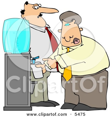 Boss Keeping a Close Eye On an Employee Filling His Cup with Water Clipart Illustration by djart