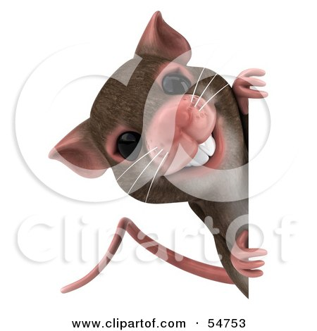 Royalty-Free (RF) Clipart Illustration of a 3d Mouse Character Looking Around A Blank Sign by Julos
