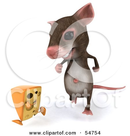 Royalty-Free (RF) Clipart Illustration of a 3d Mouse Character Chasing A Wedge Of Cheese - Version 1 by Julos