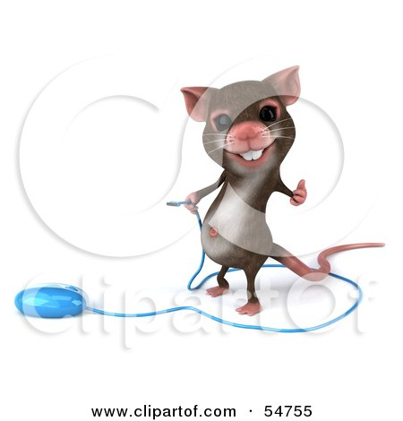 Royalty-Free (RF) Clipart Illustration of a 3d Mouse Character Holding The Cable To A Computer Mouse - Version 1 by Julos