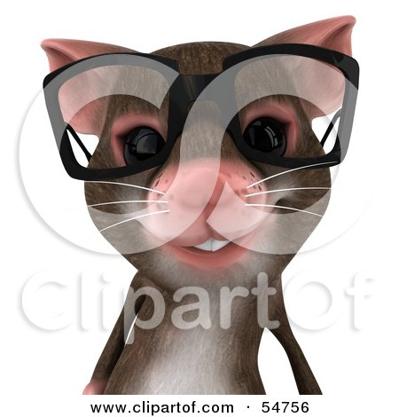 Royalty-Free (RF) Clipart Illustration of a 3d Mouse Character Wearing Spectacles - Pose 1 by Julos