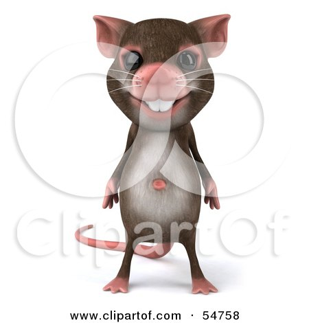 Royalty-Free (RF) Clipart Illustration of a 3d Mouse Character Standing And Facing Front by Julos