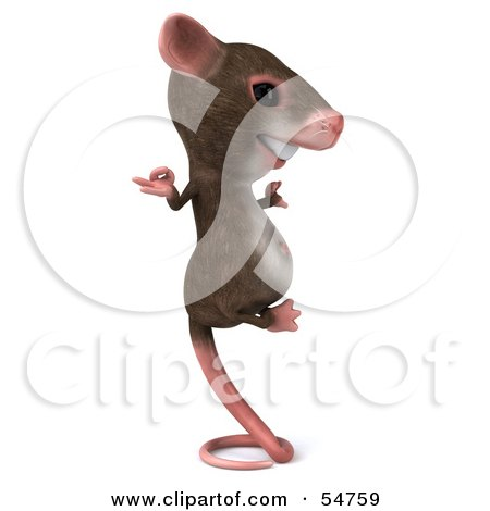 Royalty-Free (RF) Clipart Illustration of a 3d Mouse Character Perched Up On Its Tail And Meditating - Pose 2 by Julos