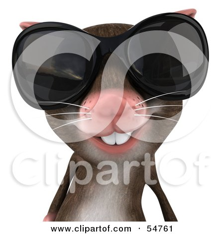Royalty-Free (RF) Clipart Illustration of a 3d Mouse Character Wearing Shades - Pose 3 by Julos