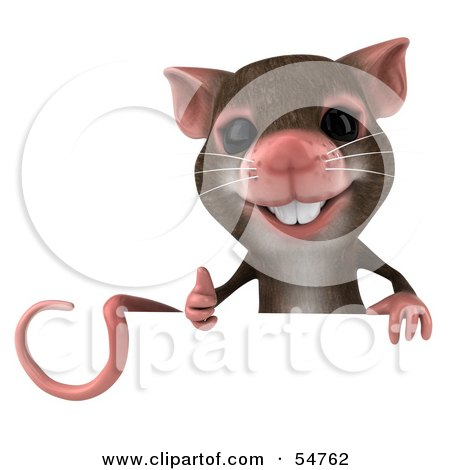 Royalty-Free (RF) Clipart Illustration of a 3d Mouse Character Giving The Thumbs Up And Holding A Blank Sign by Julos