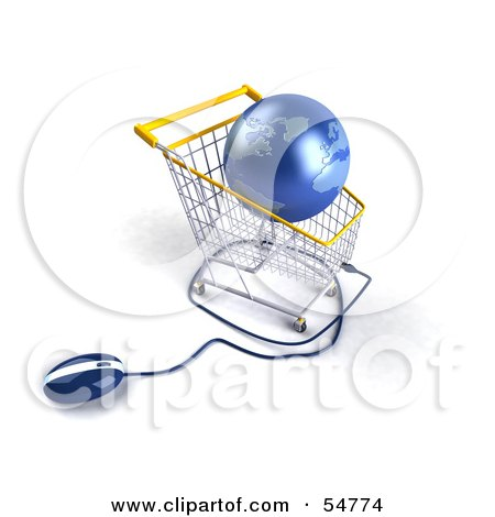 Royalty-Free (RF) Clipart Illustration of a 3d Blue Globe Resting In A Shopping Cart With A Computer Mouse - Version 4 by Julos