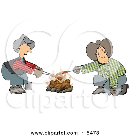 Gay Cowboys Cooking Hot Dogs Over a Campfire Clipart Illustration by djart