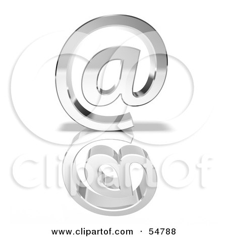Royalty-Free (RF) Clipart Illustration of a 3d Chrome Arobase Symbol - Version 3 by Julos