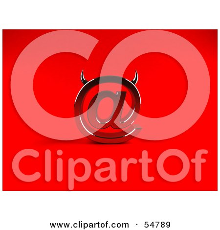 Royalty-Free (RF) Clipart Illustration of a 3d Devil Arobase At Symbol With Horns - Version 1 by Julos