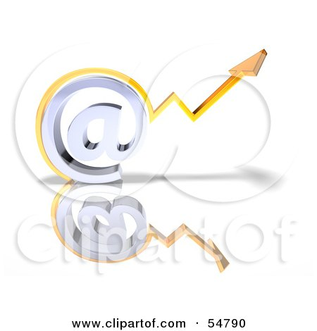 Royalty-Free (RF) Clipart Illustration of a 3d Arrow Graph Over An Arobase Symbol - Version 2 by Julos