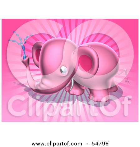 Royalty-Free (RF) Clipart Illustration of a 3d Pink Elephant Character Spraying Water - Pose 5 by Julos