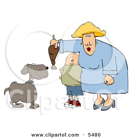 Son Watching Mom Feed Pet Dog a Turkey Leg Clipart Illustration by djart