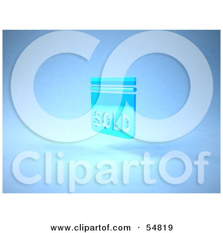 Royalty-Free (RF) Clipart Illustration of a Blue 3d Sold Sign Floating - Version 3 by Julos