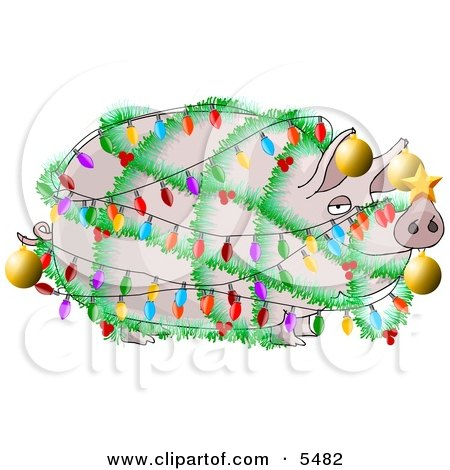 Funny Pig Decorated with Christmas Lights and Ornaments Clipart Illustration by djart