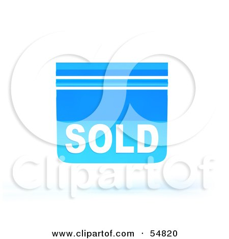 Royalty-Free (RF) Clipart Illustration of a Blue 3d Sold Sign Floating - Version 4 by Julos