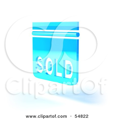 Royalty-Free (RF) Clipart Illustration of a Blue 3d Sold Sign Floating - Version 5 by Julos