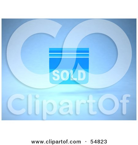 Royalty-Free (RF) Clipart Illustration of a Blue 3d Sold Sign Floating - Version 1 by Julos
