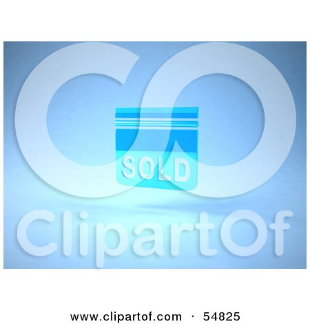 Royalty-Free (RF) Clipart Illustration of a Blue 3d Sold Sign Floating - Version 2 by Julos