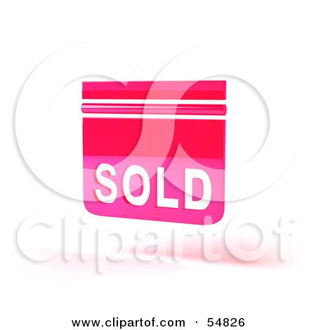 Royalty-Free (RF) Clipart Illustration of a Pink 3d Sold Sign Floating - Version 2 by Julos