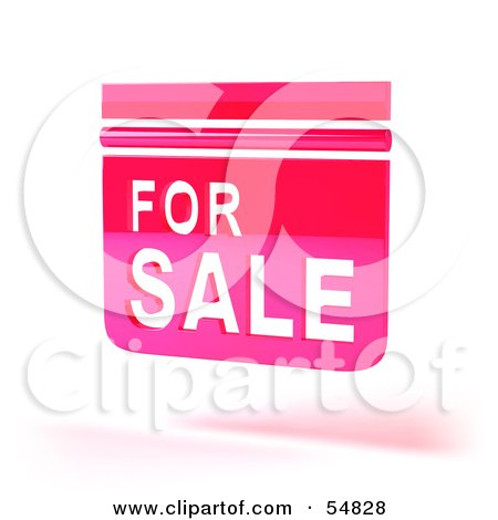 Royalty-Free (RF) Clipart Illustration of a 3d Pink Floating For Sale Sign - Version 2 by Julos