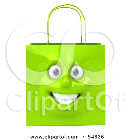Royalty-Free (RF) Clipart Illustration of a 3d Green Shiny Smiling Shopping Bag Head by Julos