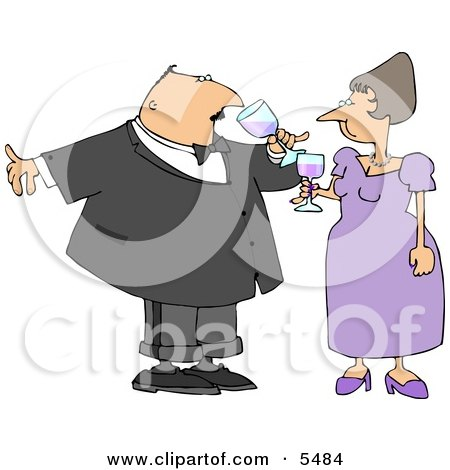 Husband & Wife Drinking Wine at a Party Posters, Art Prints