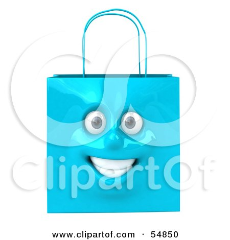 Royalty-Free (RF) Clipart Illustration of a 3d Blue Shiny Smiling Shopping Bag Head by Julos
