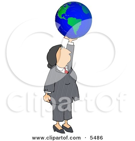 Successful Businesswoman Holding the World In Her Hand - Business Concept Posters, Art Prints