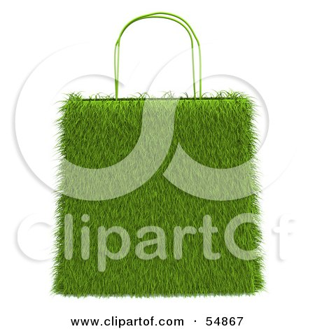Royalty-Free (RF) Clipart Illustration of a 3d Grassy Green Shopping Bag by Julos