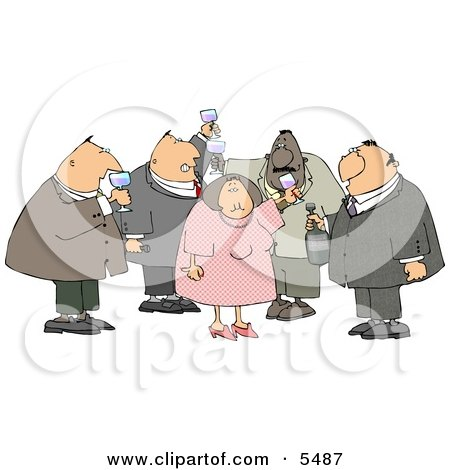 Obese Men and a Woman Drinking Wine at a Party Posters, Art Prints