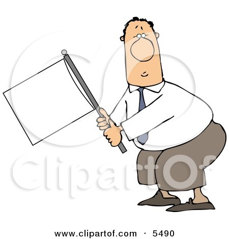 Submissive Businessman Holding a White Flag Posters, Art Prints