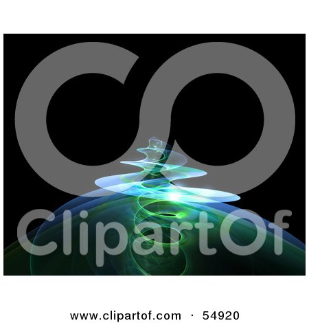 Royalty-Free (RF) Clipart Illustration of a Spiraling Green Fractal Tendril Rising Over Black by Julos