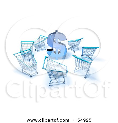 Royalty-Free (RF) Clipart Illustration of a 3d Dollar Symbol Surrounded By Shopping Carts - Version 4 by Julos