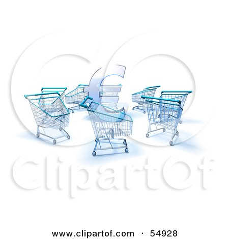 Royalty-Free (RF) Clipart Illustration of a 3d Euro Symbol Surrounded By Shopping Carts - Version 2 by Julos