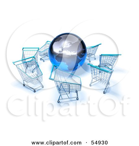 Royalty-Free (RF) Clipart Illustration of a 3d Globe Surrounded By Shopping Carts - Version 4 by Julos