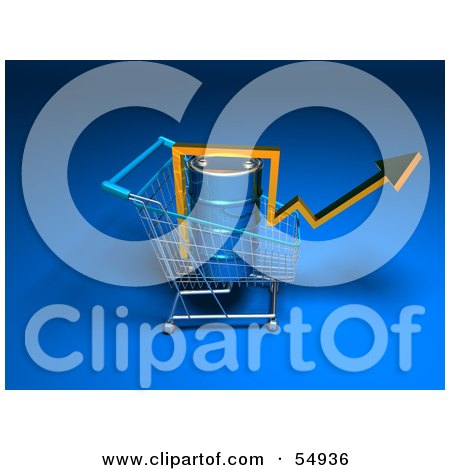 Royalty-Free (RF) Clipart Illustration of a 3d Arrow Over An Oil Barrel In A Shopping Cart - Version 5 by Julos