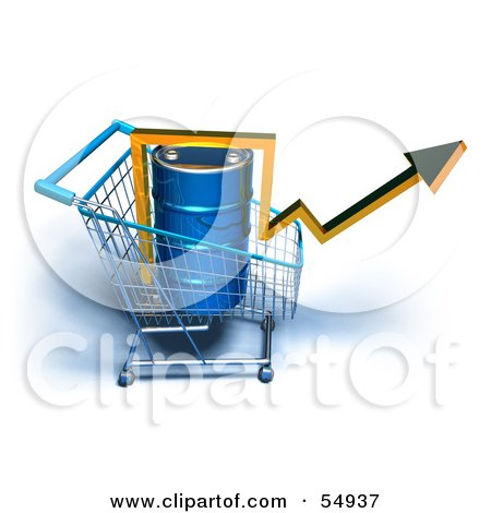 3d Arrow Over An Oil Barrel In A Shopping Cart - Version 6 Posters, Art Prints