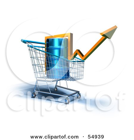 3d Arrow Over An Oil Barrel In A Shopping Cart - Version 2 Posters, Art Prints