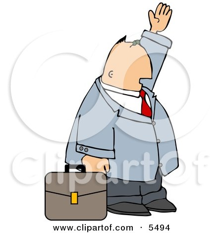 Businessman with Briefcase Trying to Wave Down a Taxi in a Big City Clipart Illustration by djart