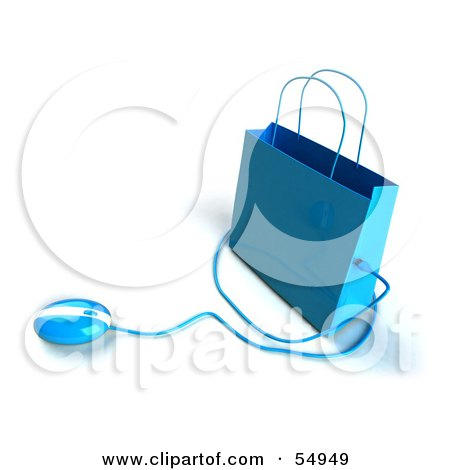 Royalty-Free (RF) Clipart Illustration of a 3d Blue Shopping Bag With A Computer Mouse - Version 4 by Julos